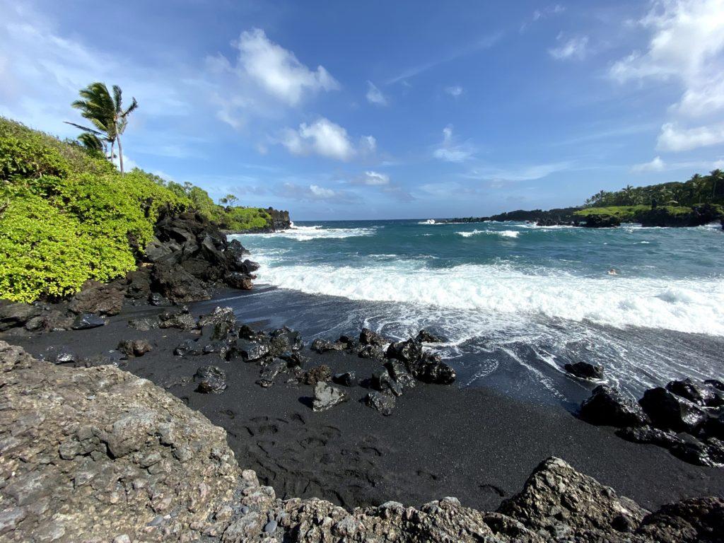 Wai'anapanapa State Park Black Sand and Ocean